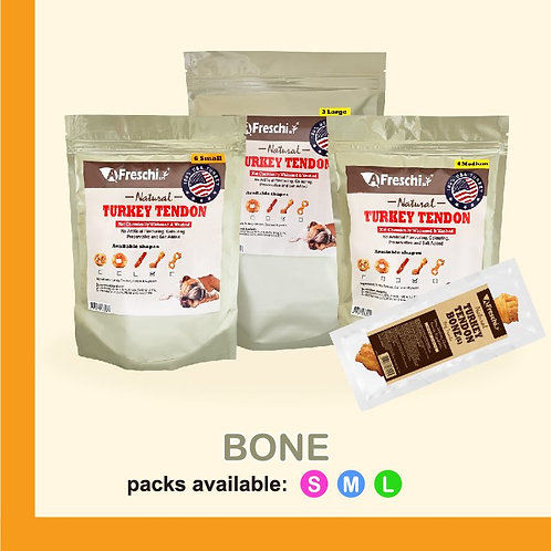 AFreschi Natural Turkey Tendon Bone shaped (Small 6pcs / pack)