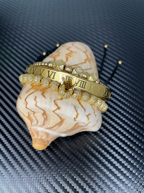 PRE ORDER 3pc GOLD Crown Me Royalty King Bracelet Set