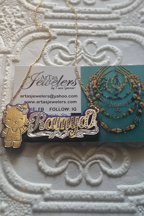 Hello Kitty Chain Nameplate Necklace