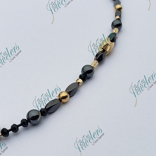 Men Bracelet 14K Gold Filled/ Hematite