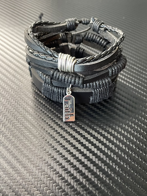 Faith Leather Bracelet Set