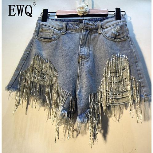 Diamond Tassel Beads Cowboy Shorts Women