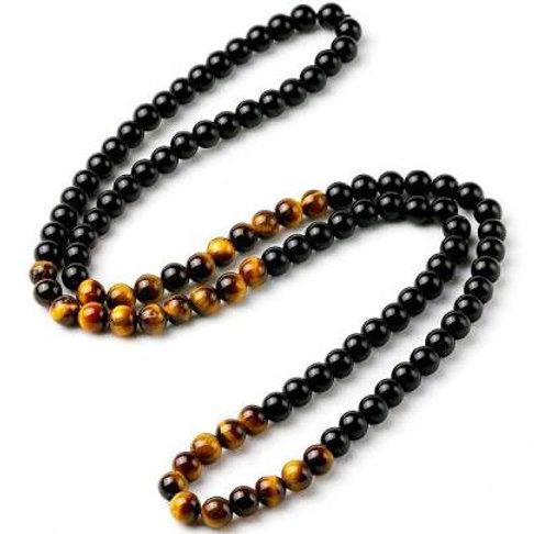 Long Onyx Tiger Eye Necklace