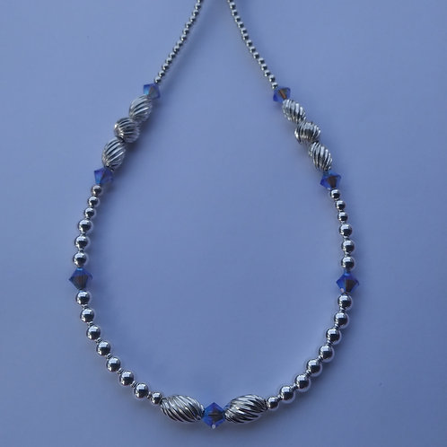 Sterling Silver and Candy Crystal Necklace