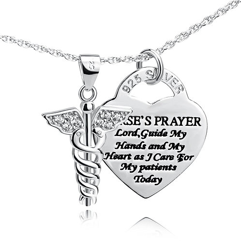 925 Sterling Silver Caduceus Angel Nursing Themed Pendant Necklace 18""