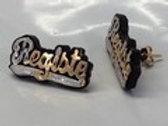 10K Yellow Gold Stud Earrings w/Acrylic