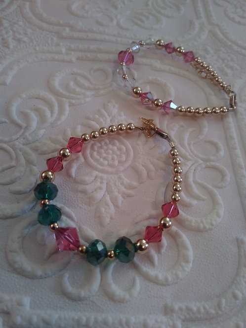 Crystal Cutie-Indian Pink/Emerald