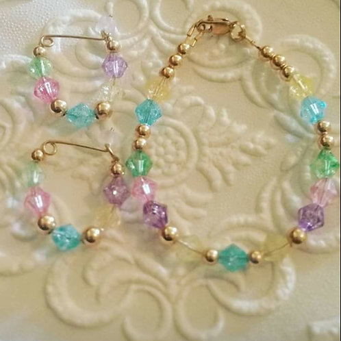 2. Miss Cotton Candy Bracelet and Earring Set