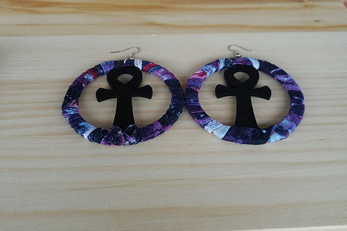 Fabric Cloth Wrapped Ankh Wood Earrings