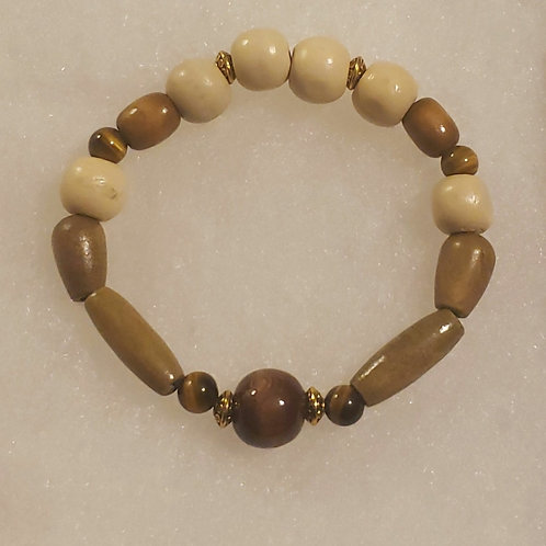 Wood Bracelet with Tiger's Eye    7.5in
