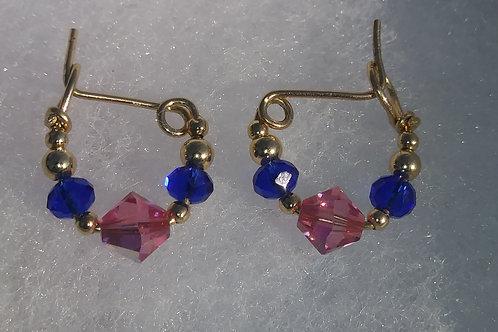 5. Dark Blue N Indian Pink Infant Earrings
