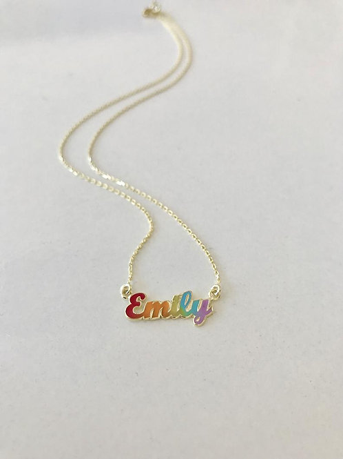 Jazzy Colored Nameplate Necklace