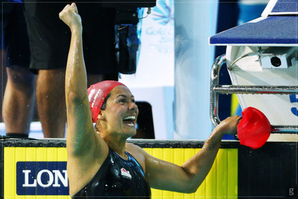 Aimee Celebrating Winning Gold on the Gold Coast