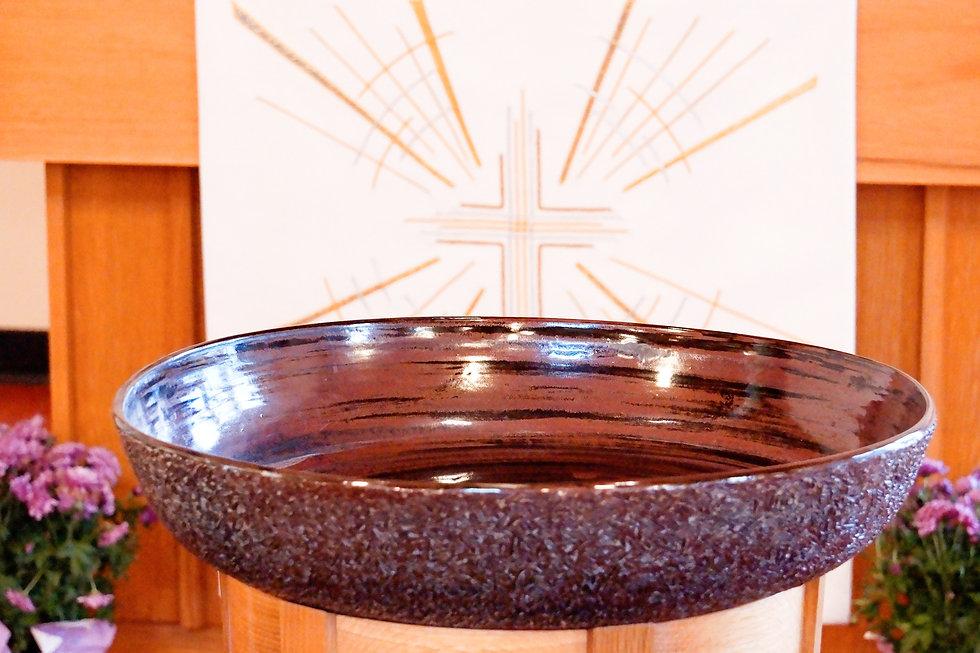 Baptismal Font at OSL. D. Solheim photo.