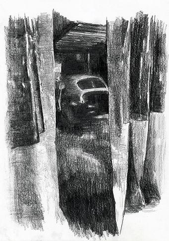 LES RIDEAUX DE L'ATELIER - graphite sur papier  - Mathieu Le Breton © 2021
