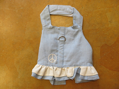Small Peace Sign Blue Dress