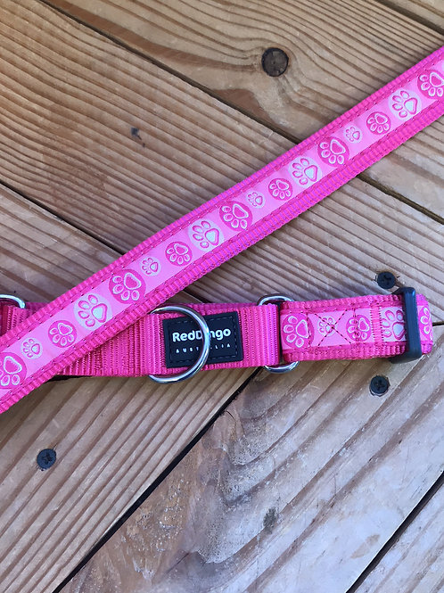 Set Large Adjustable Martingale collar leash combo set (Pink Paw Prints)