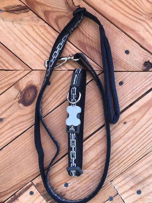 Set Medium buckle collar and leash combo (black chain)