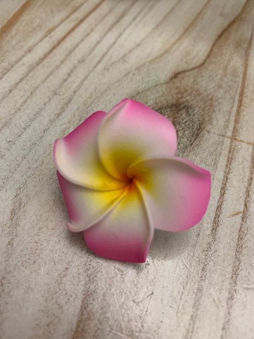 Tiny Hair Flower - Pink Edges
