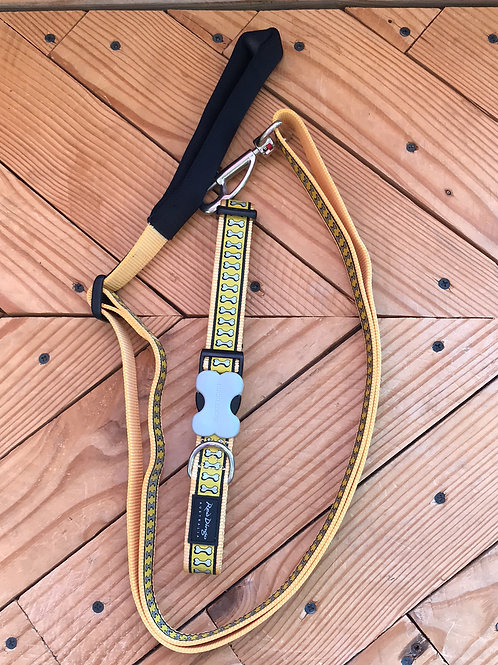 Set Large buckle collar and leash combo (Yellow Reflect at night)