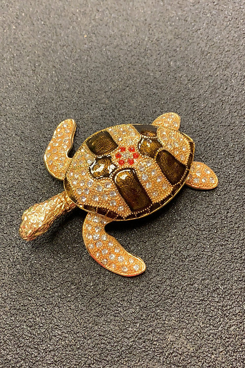 Brown Sparkle Turtle keep sake with open slot