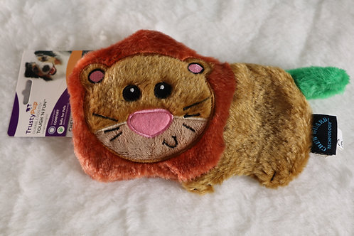 Lion Flat Furry Squeaky Toy