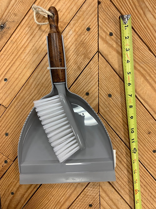 Dark wood broom and or dust pan
