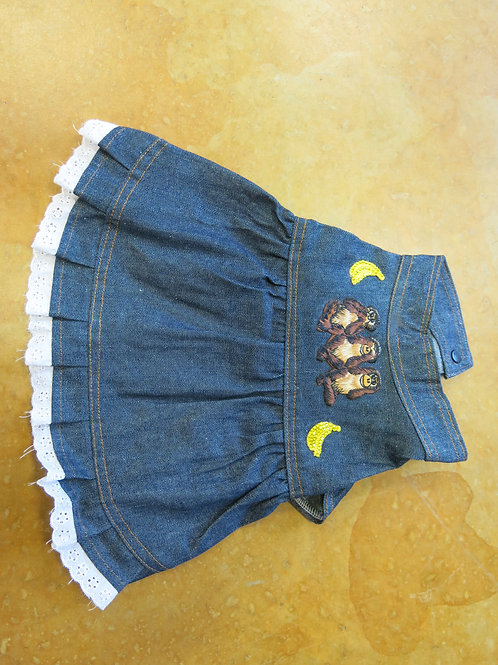 Small Jean Denim See No Evil Monkey Dress