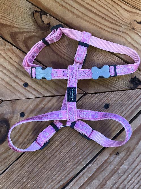 15mm Medium Adjustable Harness Pink Hearts