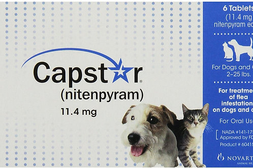 Capstar Blue small dog - 6 pack (Flea) - Box may vary in color