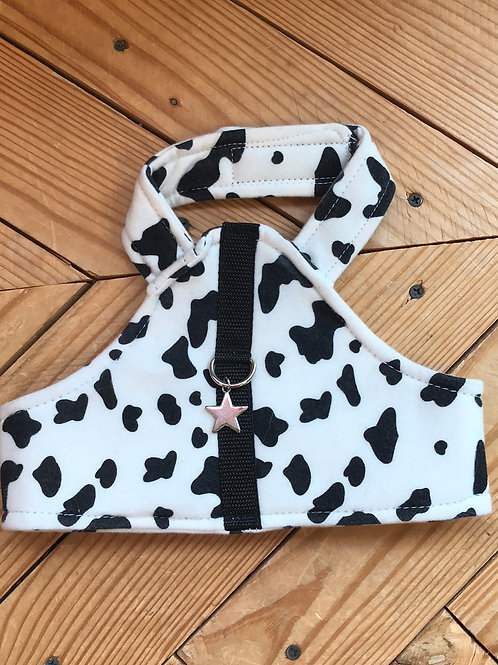 SMALL Dog Harness Cow Print
