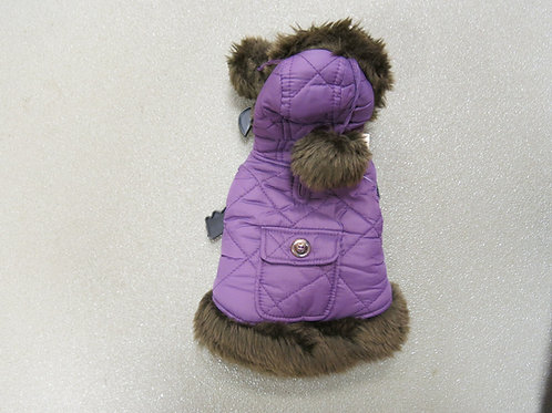 Purple Quilted Coat with Pom Poms