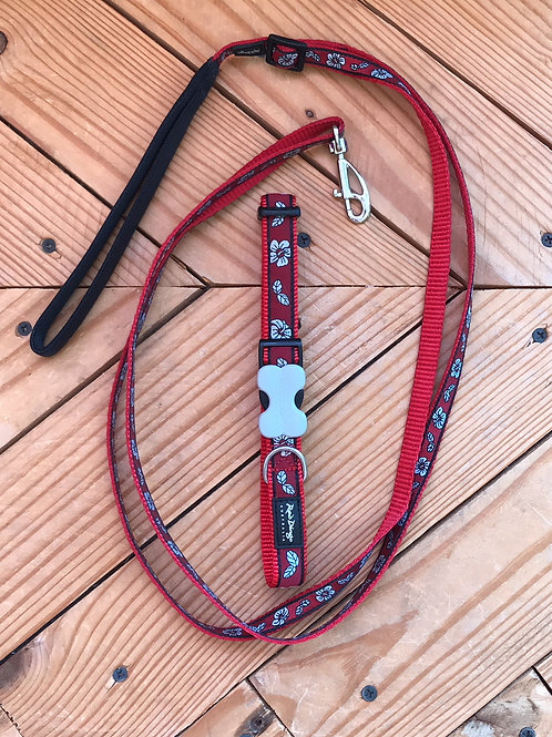 Set Medium buckle collar and leash combo (red hibiscus)