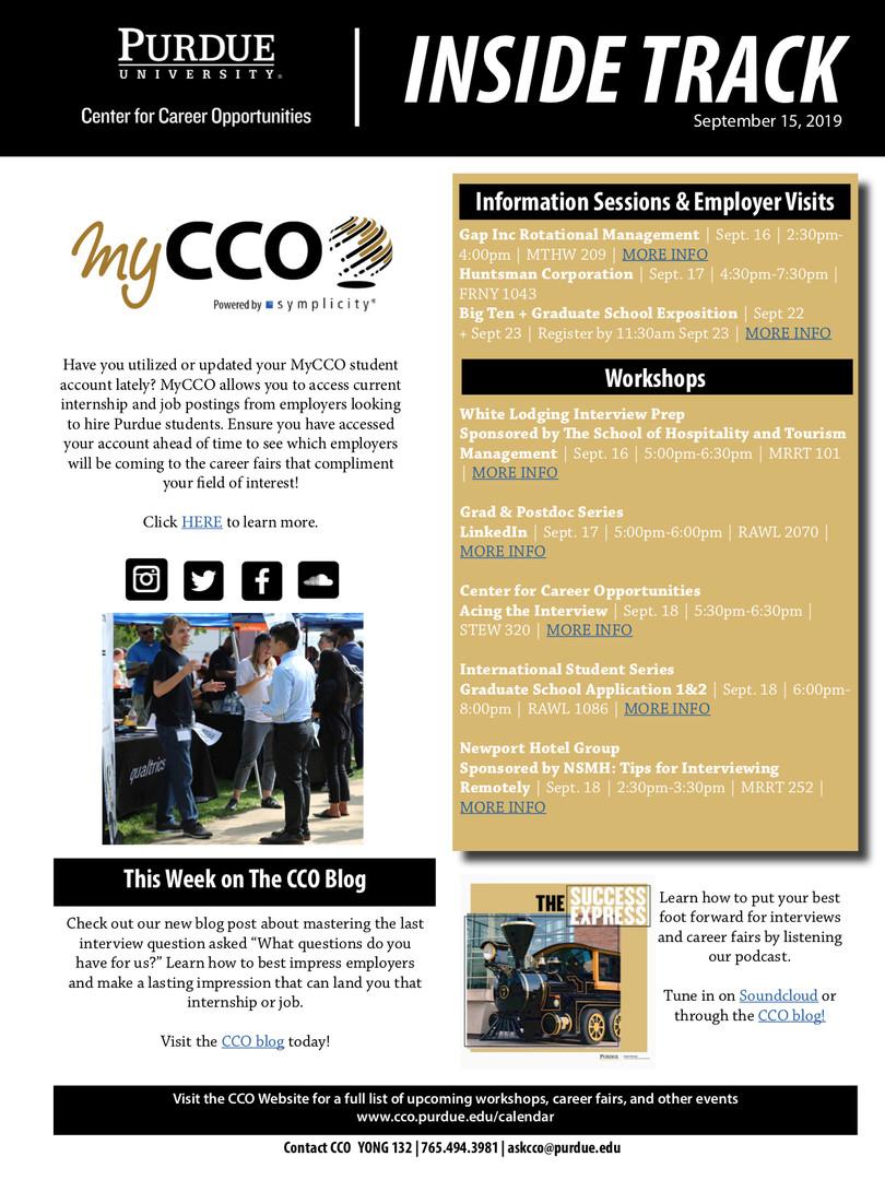 CCO Inside Track September 15, 2019