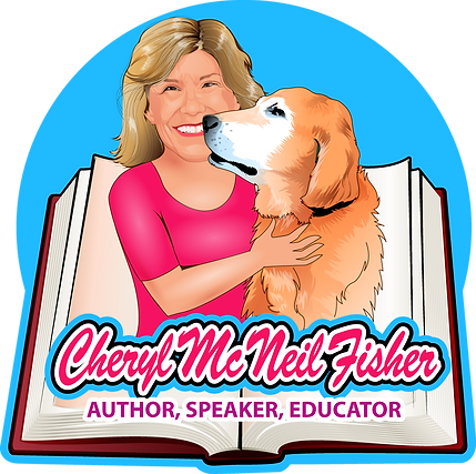 "This is Cheryl's logo. Cheryl wears a pink top and has an arm around her guide dog. A blue circle is drawn around them and there is an open book behind them. Cheryl's name, Cheryl McNeil Fisher, is displayed along the bottom, with the tagling ""Author, Speaker, Educator"" On each side of the logo in the center, there are books Cheryl has written. Any of these books can be clicked to go to the book page and hear excerpts from audiobooks, descriptions, and puchase buttons."