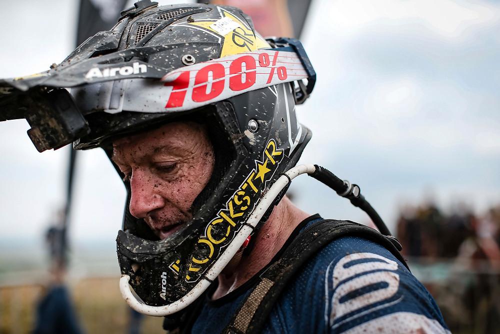 Rider and crash helmet