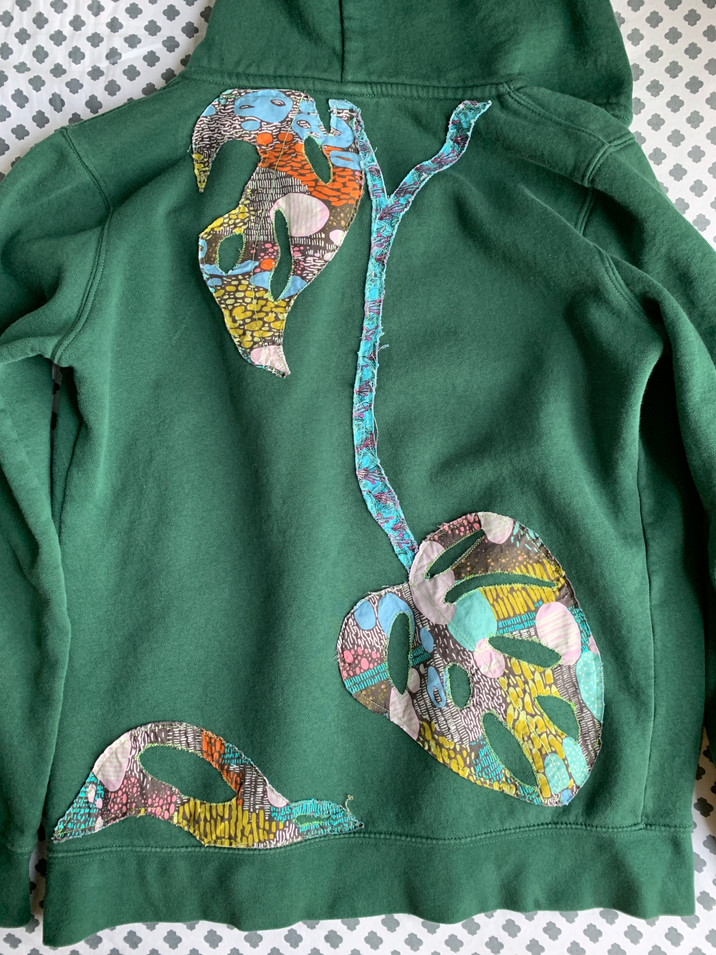 Monstera applique on hooded sweatshirt
