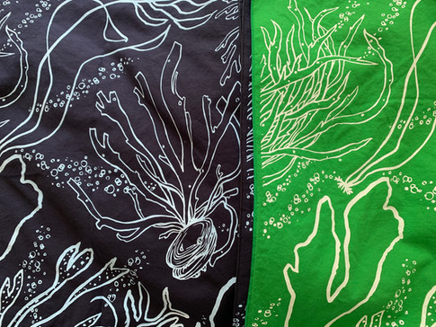 Ocean & seaweed hanky for the Queer Ecology Hanky Project Exhibit. Collaboration with Mel Hardy.