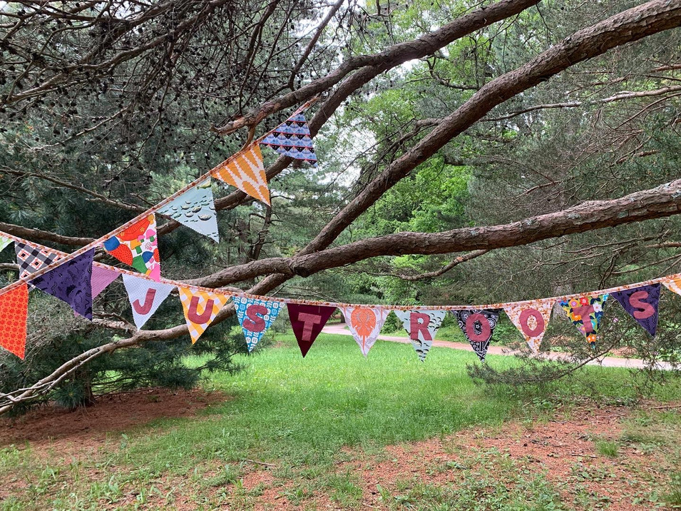 Flag banners commissioned by Just Roots Farm