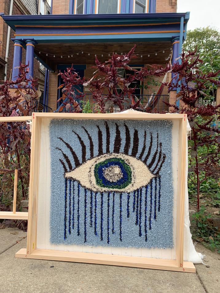 Tufted yarn wall hanging