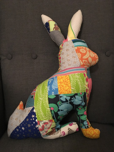 Stuffed quilted rabbit