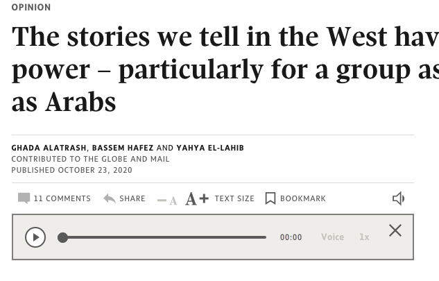 Globe and Mail Opinion Piece