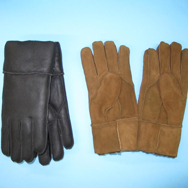 Black and Tan Sheepskin Lined Gloves - made in France