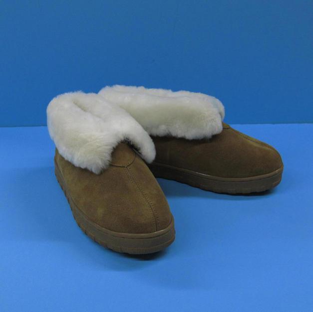 Tan Unisex Sheepskin Slippers - composition: indoor/outdoor sole - made in France #1831