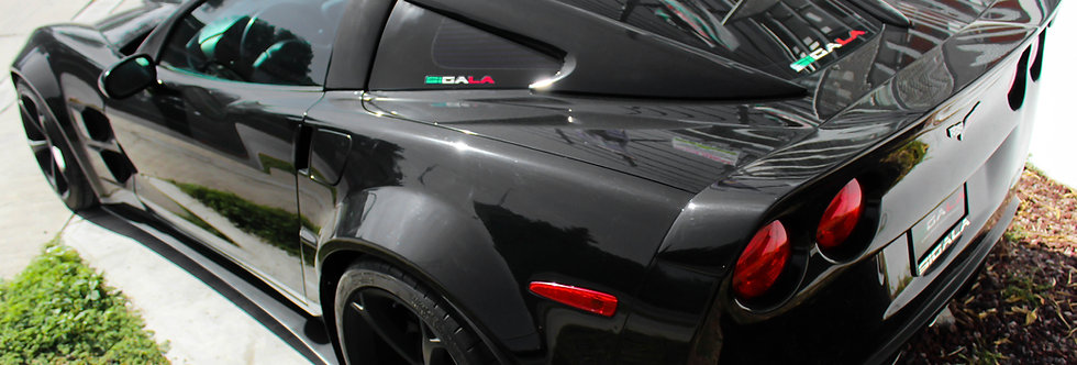 2005 - 2013 Corvette Fiberglass Window Rails w/ Halo