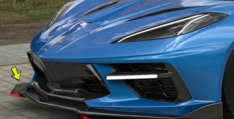 2020+ Corvette C8 Widebody RR Dual Front Splitter Set (Pinstripe extra $$)