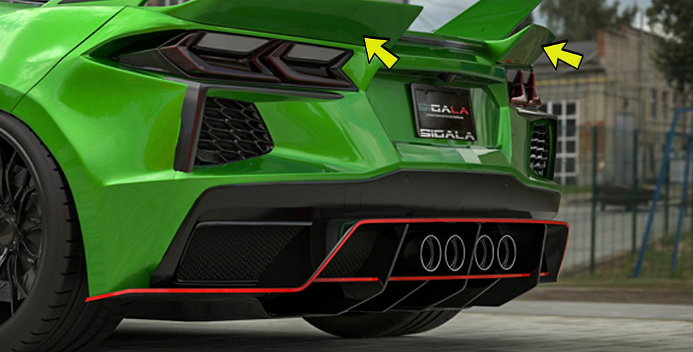 2020+ Corvette C8 Widebody Carbon Fiber RR Rear Winglets (2 pcs)