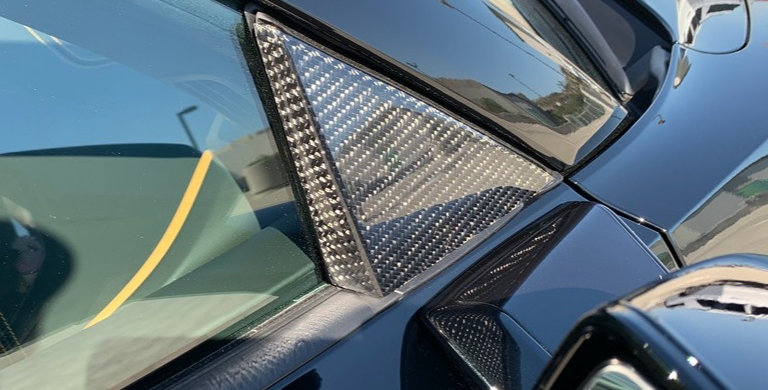 2020+ Corvette C8 Carbon Fiber Mirror Triangle Bezels