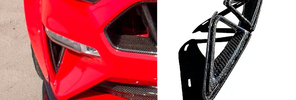 2018 - 2021 Mustang Carbon Fiber Front Bumper Moldings
