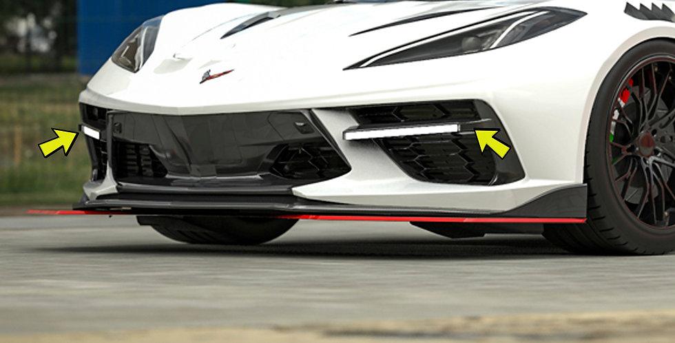 2020+ Corvette C8 RR Front Bumper Grille Inserts w/LED lights
